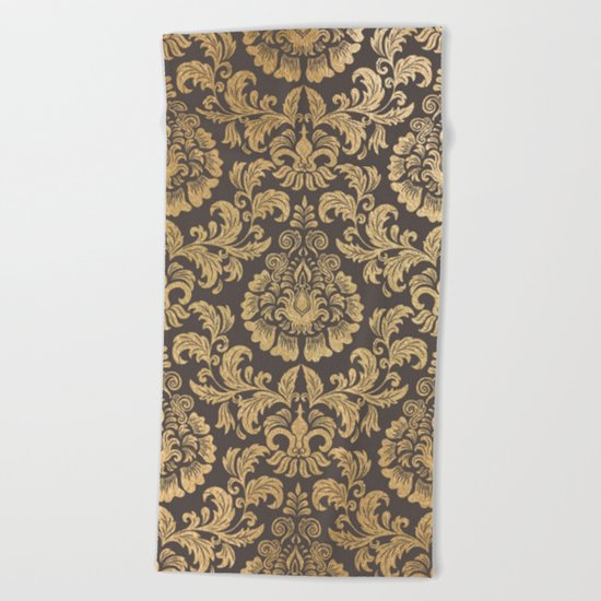 Gold swirls damask #8 Beach Towel