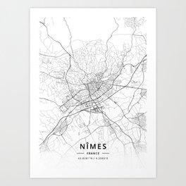 Nimes, France - Light Map Art Print