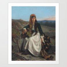 Jon Frederik Pieter Portielje, Gipsy girl with tambourine Art Print