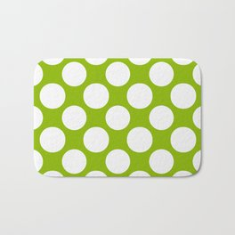 White & Apple Green Spring Polka Dot Pattern Bath Mat