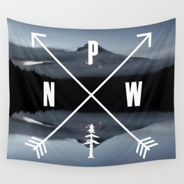 PNW Pacific Northwest Compass - Mt Hood Adventure Wall Tapestry