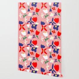 Large Handdrawn Bacchanal Floral Pop Art Print Wallpaper