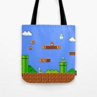 mario Tote Bags featuring Mario by idaspark