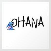ohana Art Prints featuring OHANA by Sjaefashion