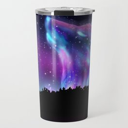 Northern landscape with howling wolf spirit and aurora borealis Travel Mug