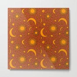 Vintage Sun and Star Print in Rust Metal Print