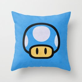 Blue Mushroom Throw Pillow