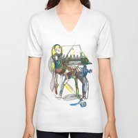wings V-neck T-shirts featuring Wings by Dawn Patel Art