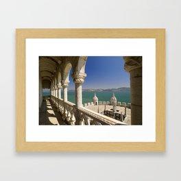 The Torre de Belem and river Tejo, Lisbon, Portugal Framed Art Print