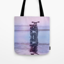 Where the Journey  begins Motorcycle at the Water Sunset Tote Bag