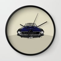 mustang Wall Clocks featuring Mustang by Hypathie Aswang