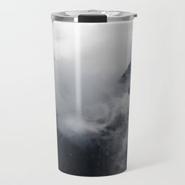 White clouds over the dark rocky mountains Travel Mug