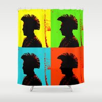 popart Shower Curtains featuring Popart punk by Kathleen Schulze