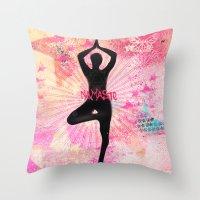 namaste Throw Pillows featuring Namaste by SannArt
