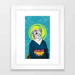 Geisha Cat Framed Art Print