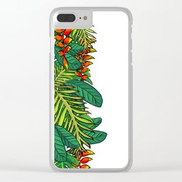 Tropical Flowers and Leaves Clear iPhone Case