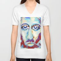 jesus V-neck T-shirts featuring Jesus  by melissa lyons