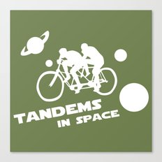 Tandems in Space in Green Canvas Print