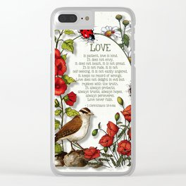 Bible Verses About LOVE, With Bird, Ladybugs, and Floral Art Clear iPhone Case