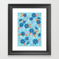 Floral Moths - Blue Framed Art Print