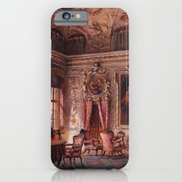 Interior Portrait, Music Room, The Salone of the Palazzo Barbaro by Ludwig Passini iPhone Case