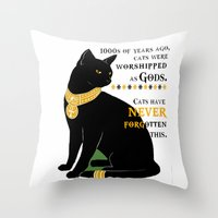 egyptian Throw Pillows featuring Egyptian Cat by SwanniePhotoArt