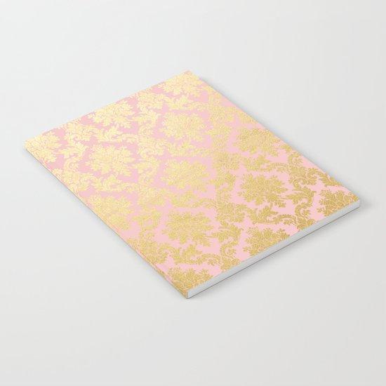 Princess like - Luxury pink gold ornamental damask pattern Notebook