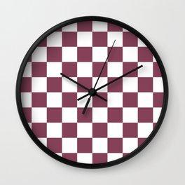 Purple, Mulberry: Checkered Pattern Wall Clock
