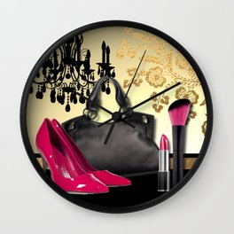 Chandelier Handbag Pumps Cosmetics Fashion Collage Wall Clock