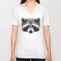 rocket raccoon V-neck T-shirts featuring Raccoon // Mint by peachandguava