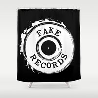 records Shower Curtains featuring Fake Records by MADMEDIUM