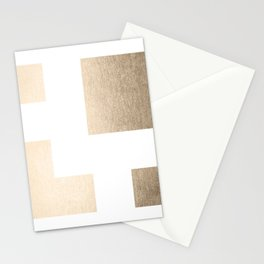 Simply Geometric in White Gold Sands on White Stationery Cards