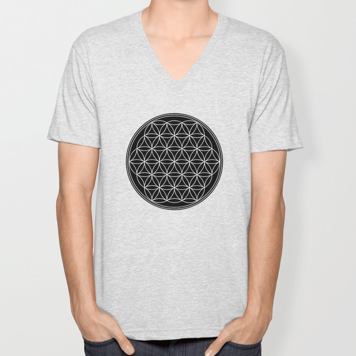 Flower of life on black Unisex V-Neck