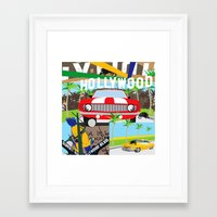hollywood Framed Art Prints featuring Hollywood by Laia Kaie