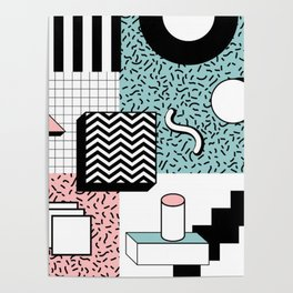 ABSTRACT PASTEL 80s POP ART RETRO PATTERN Poster