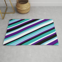 Colorful Light Sea Green, Sky Blue, Mint Cream, Indigo & Black Colored Pattern of Stripes Rug