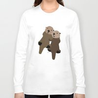 otters Long Sleeve T-shirts featuring Made For Each Otter by Carrie Ambo