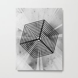 Monochrome Cube Illusion Metal Print