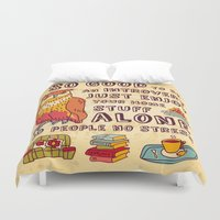 introvert Duvet Covers featuring Happy introvert by Crowhouse