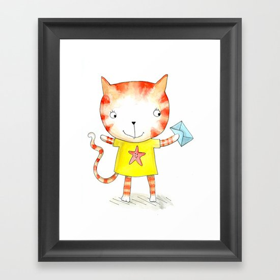 Ginger kitten watercolour Framed Art Print