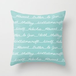 Feminist Book Author Surname Hand Written Calligraphy Lettering Pattern - Blue Throw Pillow