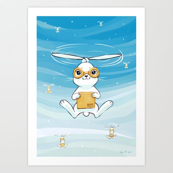 Postal Bunny Art Print