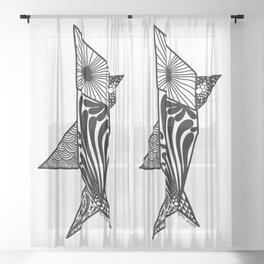 Shark Origami Doodle Sheer Curtain