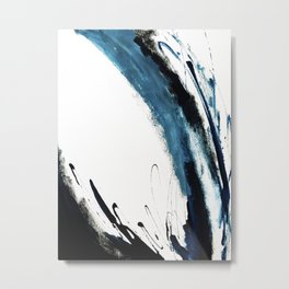 Reykjavik: a pretty and minimal mixed media piece in black, white, and blue Metal Print