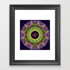 Groovy mandala with doodle flower Framed Art Print