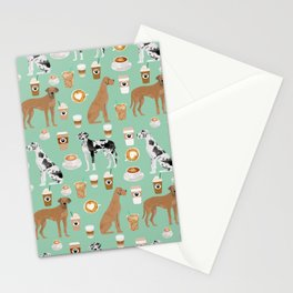 Great Dane coffee cafe dog breed pattern custom pet portrait Stationery Cards