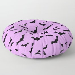 Black Bat Pattern on Purple Floor Pillow