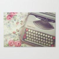 typewriter Canvas Prints featuring Typewriter by Beth Retro
