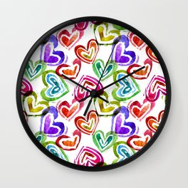Watercolor colorful lips pattern Wall Clock