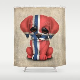 Cute Puppy Dog with flag of Norway Shower Curtain